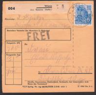 """Wiesa über Kamenz (Sachs), Paketschein Mit """"FREI"""", Mit 60 Pf. 5-Jahrplan II Als EF, 3.5.54, DDR 420 Hochseeschiff - DDR"""