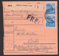 """Kamenz (Sachs) Land, Paketschein Mit """"FREI"""", Mit 60 Pf. 5-Jahrplan II Als MeF, 14.10.54, DDR 420(2) Hochseeschiff - DDR"""