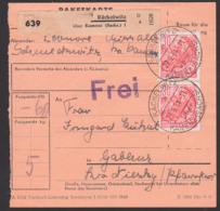 """Räckelwitz üb. Kamenz (Sachs), Paketschein Mit """"FREI"""", 30 Pf. 5-Jahrplan II Als MeF, 27.9.54, DDR 417(2) Volkstanzgruppe - DDR"""
