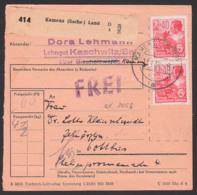 """Kaschwitz Kamenz (Sachs), Paketschein Mit """"FREI"""", 40 Pf. 5-Jahrplan II Als MeF, 13.1.55, DDR 418(2) Chemiker, Spatelst. - DDR"""