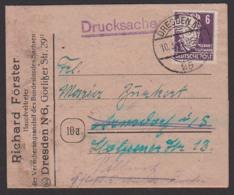 Drucksache Dresden N25 6 Pf. Gerhardt Hauptmann Als Falbrief Mit Eingedruckter Zahlkarte An Versicherung, 10.3.49 - Sowjetische Zone (SBZ)