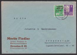 DRESDEN  11.11.48 SBZ Aufdruck In MiF Mit 6 Pf Gerhart Hauptmann Als Ortsbrief, Rs. Vignette OEKONOM Briefverschluss - Sowjetische Zone (SBZ)
