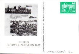 """DDR Privatganzs.PP 016C2/025 """"Bauwerke-10Pf.grün-Neptunbrunnen"""",""""PHILEX SCHWERIN-TORUN 1977"""", Ungebraucht - DDR"""