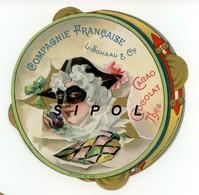 Chromo Circulaire Imitation Tambourin  L.Schaal Chocolats é Thés Arlequin  TBE - Chromos