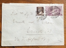 MISTA MICHETTI IMPERIALE Coppia 20 C. + 10 C. DA MONCALIERI TORINO 7/9/29 PER TRIESTE - 1900-44 Vittorio Emanuele III