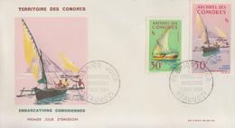 Enveloppe  FDC  1er  Jour   ARCHIPEL  Des  COMORES   Embarcations  Comoriennes   1964 - Zonder Classificatie