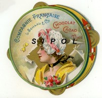 Chromo Circulaire Imitation Tambourin  L.Schaal Chocolats &  Thés  Femme A Coiffe & Ruban Rose TBE - Chromos