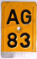 Velonummer Mofanummer Aargau AG 83, Letzte Kleine Töfflinummer AG ! - Plaques D'immatriculation