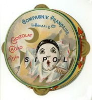 "Chromo Circulaire Imitation Tambourin  L.Schaal Chocolats &  Thés "" Pierrot "" - Chromos"