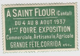 1937 ST FLOUR CANTAL 1° FOIRE EXPOSITION CORRIDA - Commemorative Labels