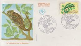 Enveloppe  FDC  1er Jour  REUNION    Protection  De  La  Nature   Le  Caméléon   L' ETANG  SALE   1971 - Reunion Island (1852-1975)