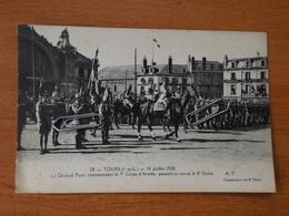TOURS GARE LE  14 JJUILLET 1920 LE GENERAL PONT PASSANT EN REVUE LE 8° GENIE - Tours