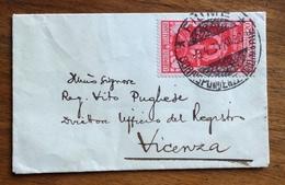 DECENNALE ANNESSIONE FIUME 20 C.ISOLATO SU BUSTINA BIGLIETTO DA VISITA DA FIUME A ViCENZA IN  DATA 9/4/31 - 1900-44 Vittorio Emanuele III