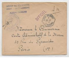 1947 - POSTE NAVALE - ENVELOPPE FM De BREST 2° DEPOT (FINISTERE) - Marcophilie (Lettres)