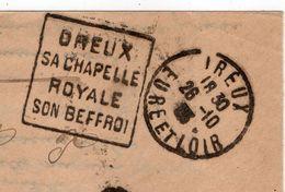 """1933--Lettre De DREUX -28 Pour LE MANS-72 -cachet Daguin"""" Chapelle Royale,Beffroi """"- Franchise Procureur République - Marcofilia (sobres)"""