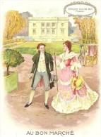 Au Bon Marché, Série époque, époque Louis XVI, Trianon,jardins, Chaise à Porteur, Grand Format 16cm X 11.5cm - Au Bon Marché