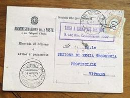RICEVUTA DI RITORNO CON SEGNATASSE 50 C. TASSA A CARICO DEL DESTINATARIO  VITERBO 7/4/34 - 1900-44 Vittorio Emanuele III