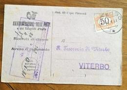 RICEVUTA DI RITORNO CON SEGNATASSE 50 C. TASSA A CARICO DEL DESTINATARIO  VITERBO 14/1/31 - 1900-44 Vittorio Emanuele III