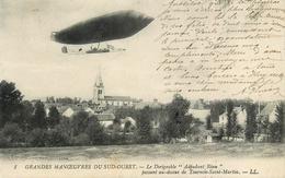 """Tournon St Martin - Le Dirigeable """" Adjudant Réau """" Passant Au Dessus - Aviation Ballon Grandes Manoeuvres Sud Ouest - France"""