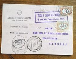 RICEVUTA DI RITORNO CON SEGNATASSE 10+40 C. TASSA A CARICO DEL DESTINATARIO  VITERBO 7/10/35 - 1900-44 Vittorio Emanuele III