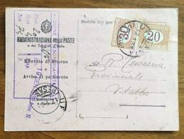 RICEVUTA DI RITORNO CON SEGNATASSE 30+20 C. TASSA A CARICO DEL DESTINATARIO  VITERBO 17/1/33 - 1900-44 Vittorio Emanuele III