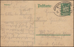 Bahnpost Marburg - Kreuztal ZUG 756. 8.8. 24 Auf Postkarte Adler 5 Pf.  - Post