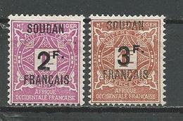 SOUDAN FRANCAIS Scott J9-J10 Yvert Taxe 9-10 (2) * 14,50 $ 1927 SURCHARGES - Soudan (1894-1902)