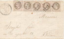 N° 27 BANDE DE CINQ SUR LETTRE  COTE DALLAY 750 E PRIX DEPART 15 EUROs - 1863-1870 Napoleon III With Laurels