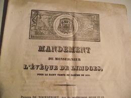 LIMOGES, Mandement De Monseigneur L'Évêque De Limoges, 1835 - Religion & Esotérisme