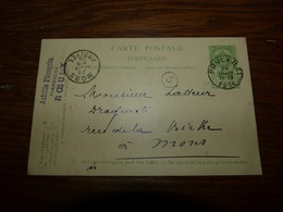 Entier Postal Carte  Cachet  Marcophilie Pharmacien Achille Plusquin Roeulx 1904 - Werbepostkarten