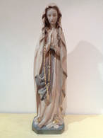 Talla De Madera Policromada De Notre Dame De Lourdes. 85 Centímetros De Alto. Taller De Cataluña. - Bois
