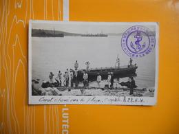 CARTE PHOTO GRECE ARGOSTOLI CEPHALONIE MILITAIRES CANOT ECHOUE SUR LA PLAGE 28/06/1916 MARINE FRANCAISE SERVICE A LA MER - Grèce