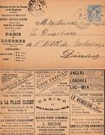 Entier Carte Lette Annonces Publicitaires Chemin De Fer De L'ouest Et De Brighton PARIS LONDRES Par DIEPPE - Postal Stamped Stationery