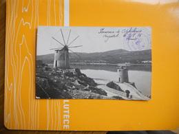 CARTE PHOTO GRECE CEPHALONIE ARGOSTOLI UN MOULIN 09/08/1916 MARINE FRANCAISE SERVICE A LA MER 2 COINS GAUCHE PLIES - Grèce