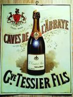 SAUMUR - Caves De L'Abbaye G. TESSIER & Fils - Plaque En Tôle émaillée - Crémant De Loire - Champagne - Vin Blanc - Liqueur & Bière
