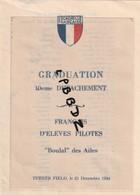 MENU - MILITARIA - AVIATION - ESCADRILLE FRANCAISE - Graduation 10e Détachement D'élèves Pilotes - TURNER FIELD 1944 - Menus