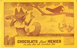 Buvard Ancien CHOCOLAT FINS MENIER - IMAGE DU CORBEAU ET LE RENARD - Chocolat