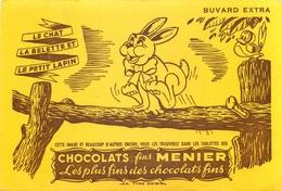 Buvard Ancien CHOCOLAT MEUNIER - LE CHAT LA BELETTE ET LE PETIT LAPIN - Chocolat