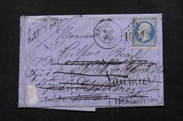 FRANCE - Lettre De Cholet Pour Saumur Et Redirigé Plusieurs Fois En 1868 , Voir Cachets De Transit Au Verso - L 21695 - 1849-1876: Periodo Clásico
