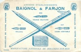 Buvard Ancien PAPETIER BAIGNOL ET FARJON - MANUFACTURE DE BOULOGNE SUR MER - Stationeries (flat Articles)