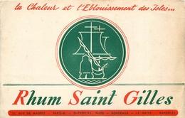 Buvard Ancien RHUM SAINT GILLES - PARIS BORDEAUX LE HAVRE MARSEILLE - Liqueur & Bière