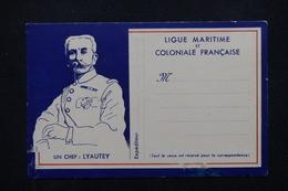 FRANCE - Carte Postale De Correspondance , Illustration Maréchal Lyautey - L 21708 - Personnages