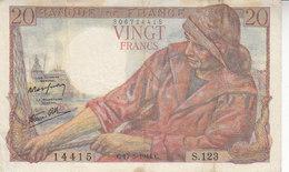 Billet 20 F Pêcheur Du 17-5-1944 FAY 13.09 Alph. S.123 - 1871-1952 Anciens Francs Circulés Au XXème