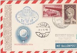 Linz Tulln 1956 - Ballonpostflug - Weltkindertag 1956 - Saar - Montgolfière - 2 Scans - 1945-60 Brieven