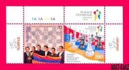 ARMENIA 2009 Sports Famous People Chess Olympiade Dresden-2008 2v Se-tenant Mi663-664Zd Sc802-803 MNH - Chess