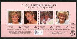 Norfolk Island 1998 Diana Princess Of Wales Commemoration MS MNH (SG MS665) - Norfolk Island