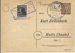 1947  Postkarte Von Scheinfeld Nach Halle (Saale) 10 + 2 Pf  Nachträglich Entwertet - Zona AAS