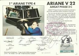 ESPACE - Lancement Fusée ARIANE V22 - 15/06/1988 - Encart Satellite AMSAT 3C - CENTRE SPATIAL GUYANAIS - KOUROU - FDC & Gedenkmarken