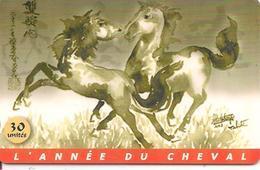 CARTE-PUCE-POLYNESIE-30U-PF125-GEMA-Fond De Puce Noir-02/02-ANNEE Du CHEVAL-UTILISE-TBE-LUXE - French Polynesia