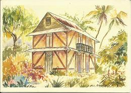 CARTE POSTALE PORTEFEUILLE - GUYANE - Maison Créole- Aquarelle - Editions G. DELABERGERIE - Guyane